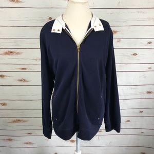 Ralph Lauren Navy Zip Pullover Knit Sweater